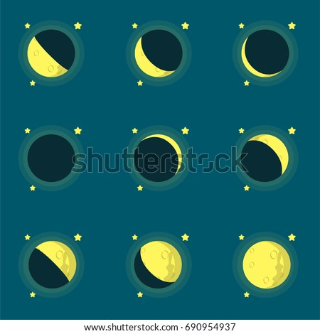 phases of the moon flat vector
