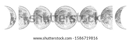 phases of the moon  monochrome