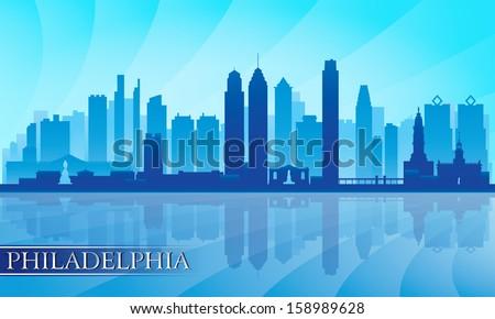 Philadelphia city skyline detailed silhouette. Vector illustration