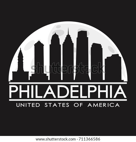 Philadelphia Full Moon Night Skyline Silhouette Design City Vector Art