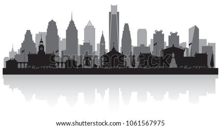 Philadelphia Pennsylvania city skyline vector silhouette illustration