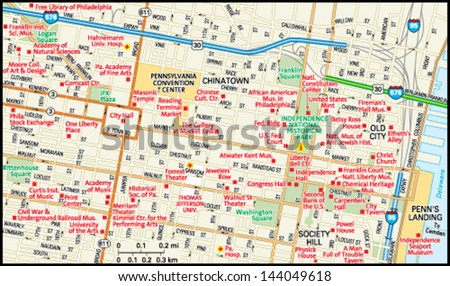 Philadelphia, Pennsylvania downtown map