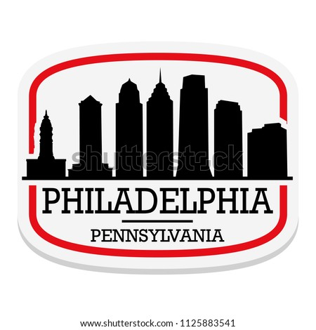 Philadelphia Pennsylvania Label Stamp Icon Skyline City Design Tourism