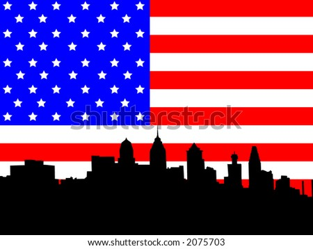 Philadelphia Pennsylvania skyline against American Flag illustration