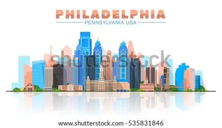 Philadelphia ( Pennsylvania USA ) skyline with panorama in white background. Vector Illustration. Business travel and tourism concept with modern buildings. Image for presentation, banner, web site.
