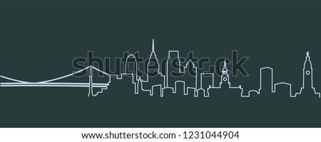 Philadelphia Single Line Skyline