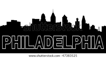 Philadelphia skyline black silhouette on white