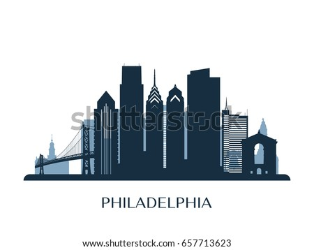 Philadelphia skyline, monochrome silhouette. Vector illustration.