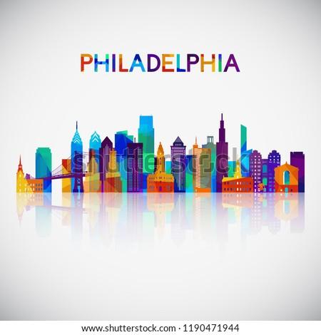 Philadelphia skyline silhouette in colorful geometric style. Symbol for your design. Vector illustration.