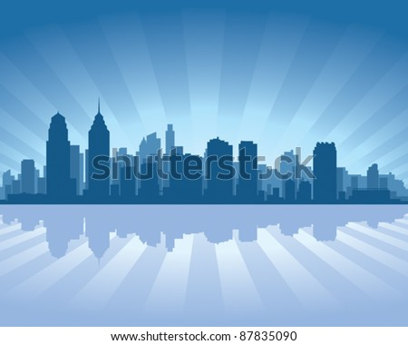 Philadelphia skyline with reflection in water