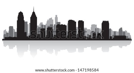 Philadelphia USA city skyline silhouette vector illustration