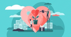 Philanthropy vector illustration. Flat tiny voluntary charity persons concept. Symbolic love of humanity as nonprofit social teamwork. Support contribution, gifts and abstract public good improvement.