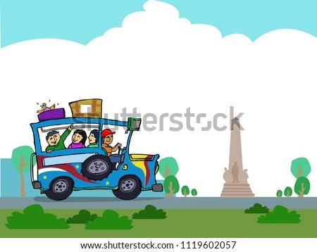 Philippine car along a park. Cartoon art hand sketch style. Editable Clip Art.
