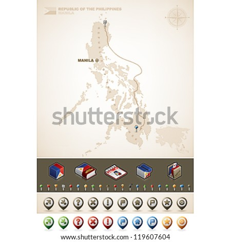 Philippines and Asia maps, plus extra set of isometric icons & cartography symbols set - stock vector
