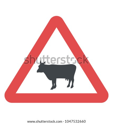 Philippines cattle crossing the roadway sign