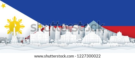 Philippines flag and famous landmarks in paper cut style vector illustration.