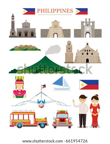 Philippines Landmarks Architecture Building Object Set, Famous Place, Travel and Tourist Attraction