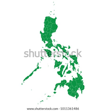 Philippines map isolated on transparent background. high detailed Green map of Philippines. Vector illustration eps 10. Blank Green similar Philippines map isolated on white background.