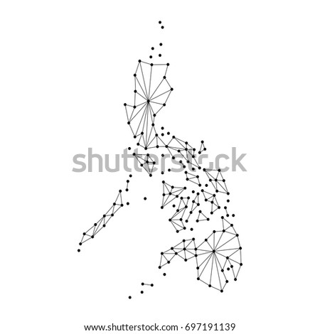 philippines map of polygonal