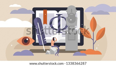 Philosophy vector illustration. Flat tiny sociology study persons concept. Ancient and symbolic culture elements. Sculpture with wise Greek, book and feather. Knowledge science and existence question.