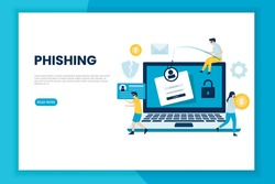 Phishing attack illustration concept.  This design can be used for websites, landing pages, UI, mobile applications, posters, banners