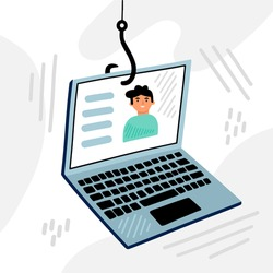 Phishing. Hacking account. Hacker activity, data phishing, credit or debit card steal data. Network security. Internet phishing, hacked login and password. Cyber crime. Vector.