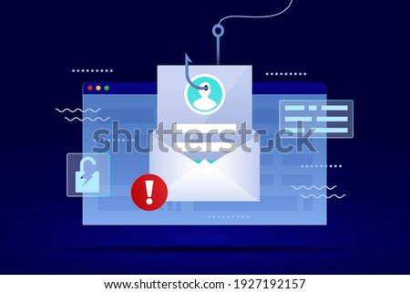 Phishing. Hacking account. Hacker activity, data phishing, credit or debit card steal data. Network security. Internet phishing, hacked login and password. Cyber crime. Vector. Stok fotoğraf ©