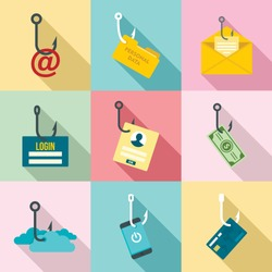 Phishing phone attack scamming icon set. Flat set of phishing phone attack scamming vector icons for web design