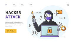 Phishing scam, hacker attack and web security abstract vector concept. Flat outlined cartoon Illustration of phishing and fraud, online scam and steal