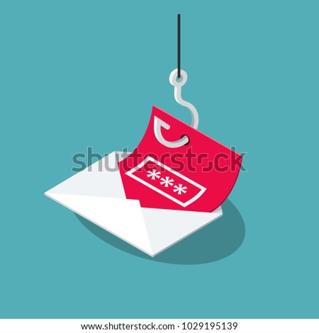 Phishing Scam vector symbol with envelope, red message and fishing hook isolated on blue background. Flat design, easy to use for your website or presentation.
