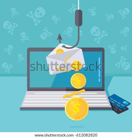 phishing via internet vector...