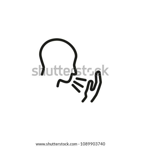 Phlegm in throat. Flat thin line illustration. Man coughing, sneezing, pneumonia. Flu and symptoms concept. For health, medicine, illness
