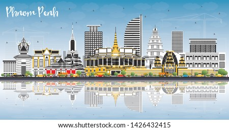 Phnom Penh Cambodia City Skyline with Color Buildings, Blue Sky and Reflections. Vector Illustration. Travel and Tourism Concept with Historic Architecture. Phnom Penh Cityscape with Landmarks.