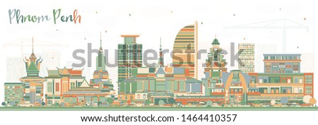 Phnom Penh Cambodia City Skyline with Color Buildings. Vector Illustration. Business Travel and Tourism Concept with Historic Architecture. Phnom Penh Cityscape with Landmarks.