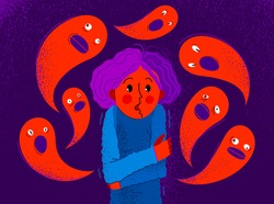 Phobia of ghosts and spirits paranormal vector illustration, girl scared in panic attack surrounded with imaginary ghosts flying around her, psychology and psychiatry.