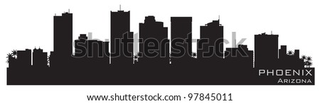 Phoenix, Arizona skyline. Detailed vector silhouette