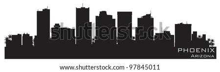 Phoenix, Arizona skyline. Detailed vector silhouette