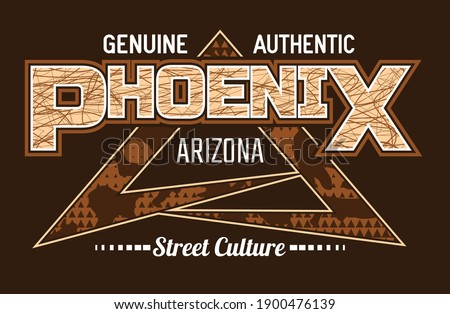 Phoenix Arizona.Vintage and typography design in vector illustration.Clothing,t-shirt,apparel and other uses.Eps10