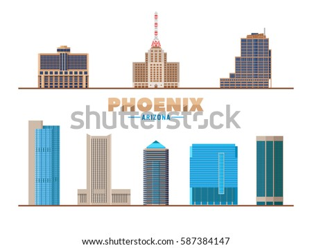 phoenix city landmarks isolated