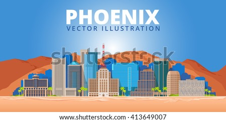 phoenix city skyline on blue