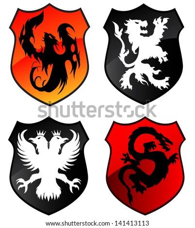 Phoenix, Lion Eagle and Dragon Shields