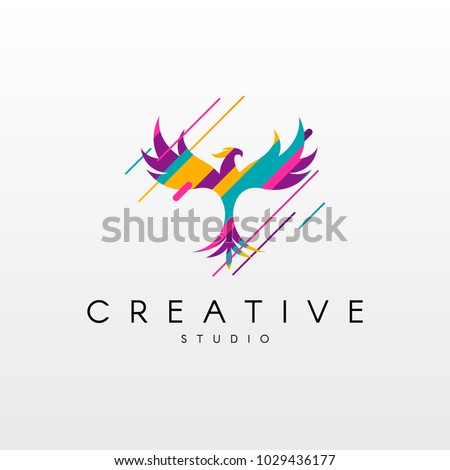 Phoenix Logo. Abstract Phoenix logo design, made of various geometric shapes in color.