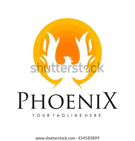 Phoenix logo template, Fire-bird, Eagle logo