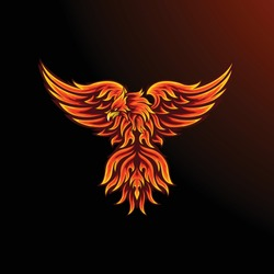 Phoenix mascot for sport and esport or gamer logo in fire color