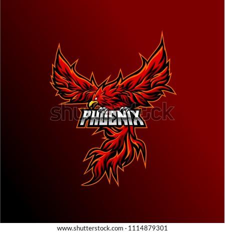 phoenix mascot logo - e sport phoenix logo