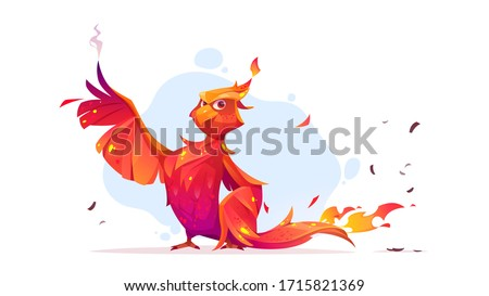 Phoenix or fenix fire bird cartoon character. Fantasy magic creature with red burning plumage and steaming wings. Fairytale animal, symbol of immortality and reborn from ashes vector illustration Stock photo ©