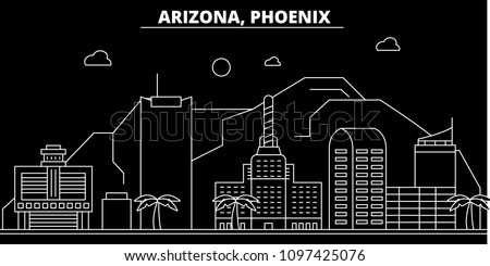 Phoenix silhouette skyline. USA - Phoenix vector city, american linear architecture, buildings. Phoenix travel illustration, outline landmarks. USA flat icon, american line banner
