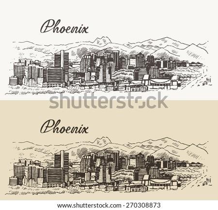Phoenix skyline, big city architecture, vintage engraved vector illustration, hand drawn, sketch.