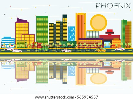 Phoenix Skyline with Color Buildings, Blue Sky and Reflection. Vector Illustration. Business Travel and Tourism Concept. Image for Presentation Banner Placard and Web Site.