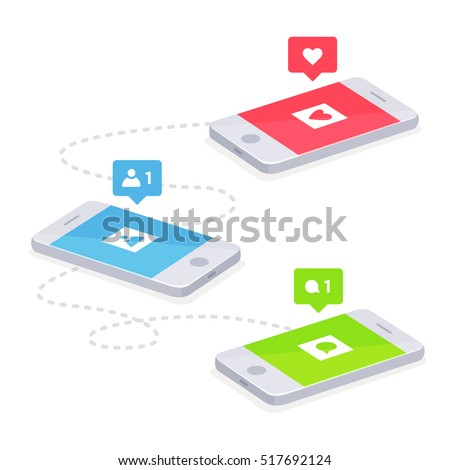 Phone and push notifications. Vector phone and social networking